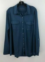 Eddie Bauer Travex Button Up Front Shirt Top Womens 2X Blue Roll Tab NWT... - $33.84