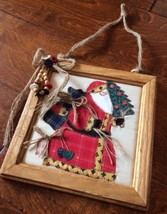 "st nick father christmas Handmade Vintage Folk Art wood framed 8.5"" fabr... - $18.92"