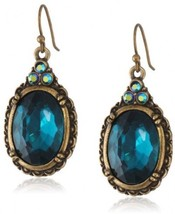 1928 Jewelry Victorian Peacock Blue Zircon Color Oval Faceted Earrings - $80.56