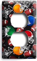 AMERICAN FOOTBALL BALLS RED BLUE GREEN HELMETS OUTLET WALL PLATE BOYS RO... - $8.99