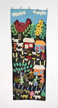 Vintage Patchwork Embroidered Rural Farm Tapest... - $38.60