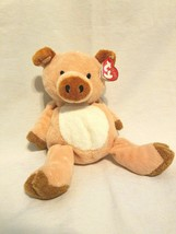 Ty Pluffies Corkscrew Pig Plush Orange Peach 2002 Sewn Eyes Stuffed Anim... - $19.77