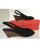 Donald J. Pliner Women's Mixer Peep Toe Wedge Pump Size 8 M Black Crepe ... - $82.90