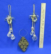 Prism Tassel Ornaments & Gift Box Ornament Gold Tone & Black Beaded Lid ... - $10.34