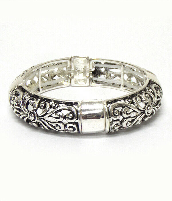 Primary image for Flower Scroll Bangle Bracelet Silver NEW
