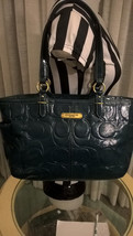 COACH Gallery Shiny Embossed Leather Beautiful Teal Green handbag CC F19462 - $68.31