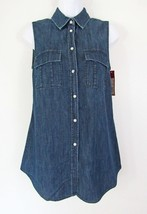 NWT Women's Merona Sleeveless Denim Medium Indigo Favorite Shirt Size XS - $7.91