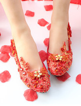 Blush Lace Wedding shoes Flats Red Flowers Bridal Shoes flat UK Size 2,3,4,7,8,9 - $38.00