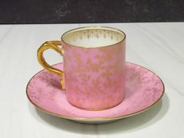 Antiq Limoges France  CFH GDM Demitasse Pink Gold Cup Saucer  - $43.56