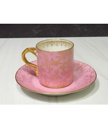 Antiq Limoges France  CFH GDM Demitasse Pink Gold Cup Saucer  - $43.56