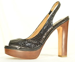 Ann Taylor shoes heels 9M platform black leather snakeskin high chic career image 2