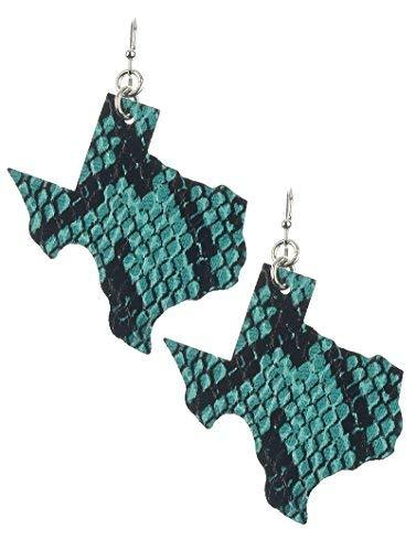 Light Weight State of Texas Dangle Earrings Faux Leather (Turquoise Snake)
