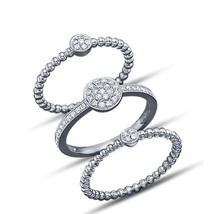 Engagement Wedding Ring Set White Gold Plated 925 Sterling Silver Round Cut CZ - $121.85