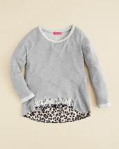 me.n.u. Girls' Leopard Back Sweatshirt, Heather Gray, Size S, MSRP $58 - $16.82