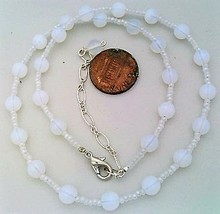 White Opal Glass Beaded Necklace - $10.20