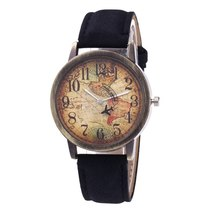 Ladies Watches Fashion Vintage World Map Printing Women Watches TkHirmoly Black - $12.99