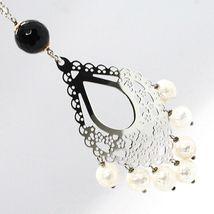 Halskette Silber 925, Onyx Schwarz, Perlen Weiß, Anhänger Floral image 5