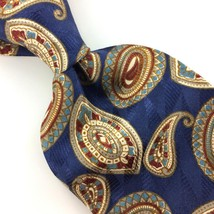 BILL BLASS TIE Turquoise BLUE BROWN PAISLEY Art Nouveau Silk Necktie IS1... - $15.83