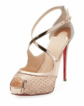 Christian Louboutin Mirabella 120mm Strappy Sequined Red Sole Sandals Pu... - $599.99