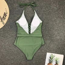 Woman V-Neck One Piece Swimsuit Sexy Bathing Suit Lace Up Halter Swimwear Suit image 10
