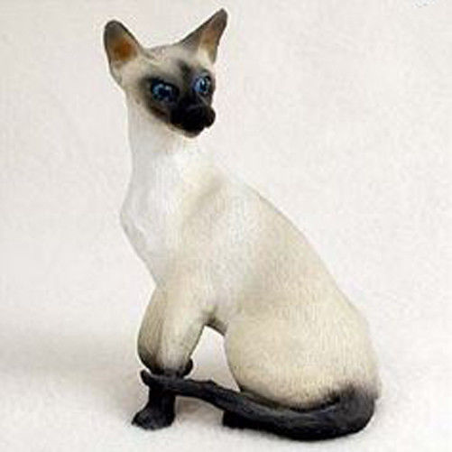 SIAMESE CAT Figurine Statue Hand Painted Resin Gift