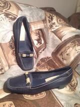Liz Claiborne Flutter Flex Navy Blue Square Toe Burlap Acc Leather Loafers Sz 7M - $29.69
