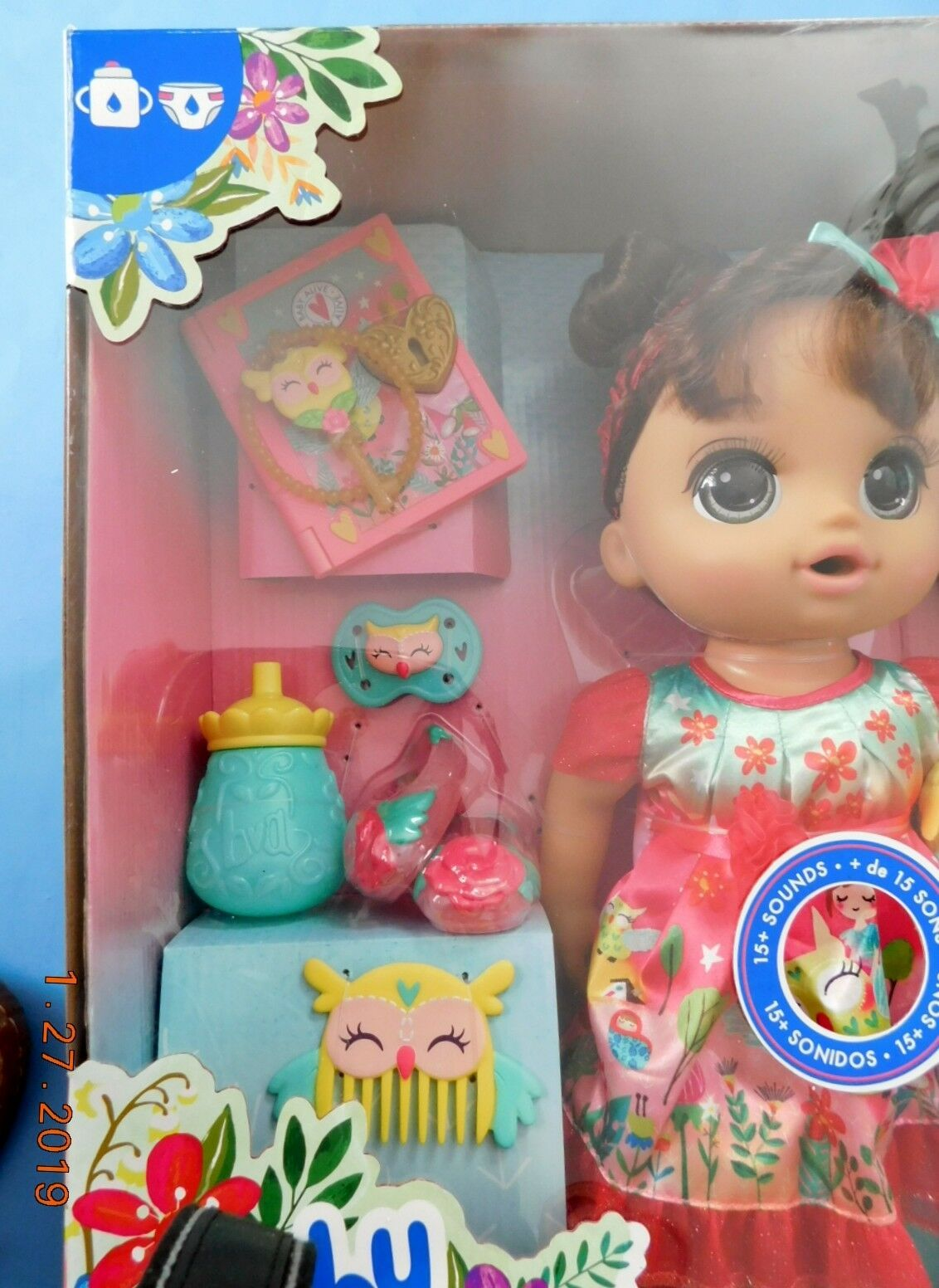 ONCE UPON A BABY ALIVE FOREST LUNA HISPANIC DOLL. 15 sounds,drinks & wets NRFB image 2