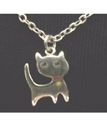 """GNV Pewter PURR-FECT KITTY on 18"""" fine link chain on gift card - $3.95"""