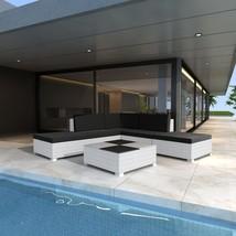 vidaXL Outdoor Lounge Set 15 Pieces Wicker Poly Rattan White Garden Pati... - $407.99
