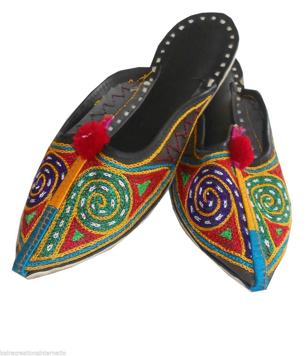 Primary image for Women Slippers Mojari Indian Handmade Flip-Flops Traditional Clogs Flat US 5