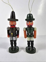 Vintage Wooden Canadian Mounties Toy Soldiers Christmas Tree Ornaments Pair - $12.62