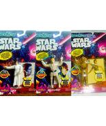 3 Star Wars Bend em's Poseable Action Figures LOT MIP Luke Leia & C-3PO - $9.95