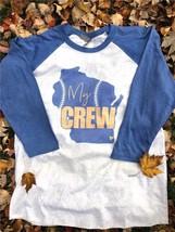 Mens New Next Level Gray Blue Milwaukee Brewers My Crew Baseball T Shirt... - $15.95