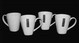 4 Roscher Classy Elegant Semi-Square Bottom Flare Top White Bone China Mugs NEW - $46.99