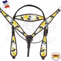 Western Horse Headstall Breast Collar Set American Leather Brown Hilason... - $108.85