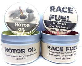Combo - 4oz Motor Oil & 4oz Race Fuel Soy Candle Tins - Great Gift for M... - €12,44 EUR