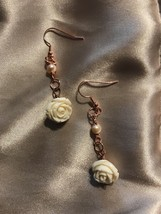 Shell Flower Earrings With Dangling Pearls - $14.00