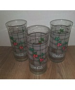"""6"""" Libbey Coca Cola Holly Berry Christmas Tiffany Style Tumblers ~ Set of 3 - $11.87"""
