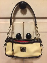 Dooney & Bourke Cream Ivory Brown Patent Mini Baguette Bag Bitsy Leather Purse - $18.00