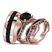 925 Pure Silver Bride and Groom Ring Set Lab Black Diamond His Her Trio Ring Set - $154.99