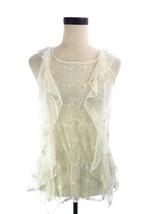 Ivory Lace Cap Sleeve Sheer Ruffle Top NEW Medium M I HEART Love H81 - $18.00
