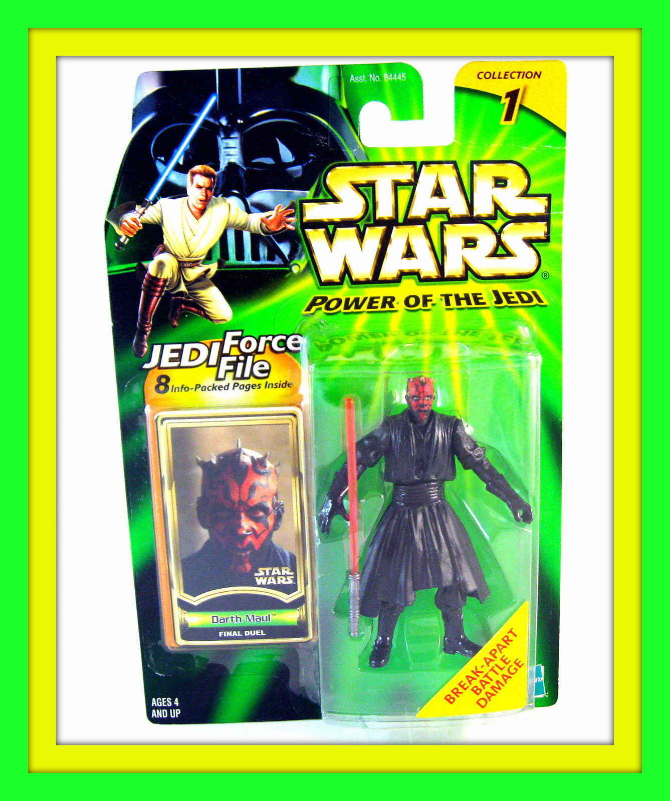 STAR WARS CARDED DARTH MAUL(FINAL DUEL)WITH JEDI FORCE FILE,COLLECTOR'S ITEM,NEW