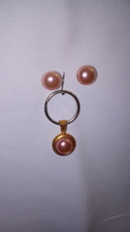 Small Pink Pearl Key Chain and pink pearl earrings set - $10.00