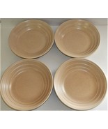 """4 Villa Romana Soup Pasta Bowl 9.5"""" Handcrafted Ribbed Beige Tan Italy S... - $79.19"""