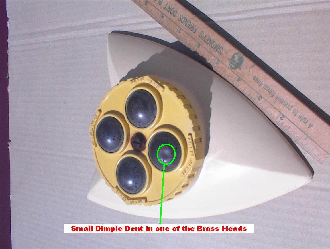 MELNOR type Star Trek Look 4 Brass Head Turret Lawn Sprinkler RETRO Cool