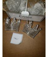 Vintage studio Crystal Crown Votive Holder Pair Fine Crystal Candle Holders - $14.95