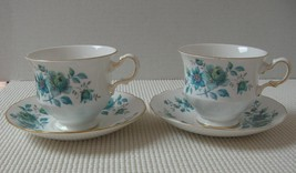 Queen Anne BLUE FLORAL Set of 2 China CUPS & SAUCERS - QUA32 Made in Eng... - $13.96