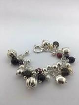 MILOR ITALY sterling silver multi charm bracelet bead multi gemstone - $69.89