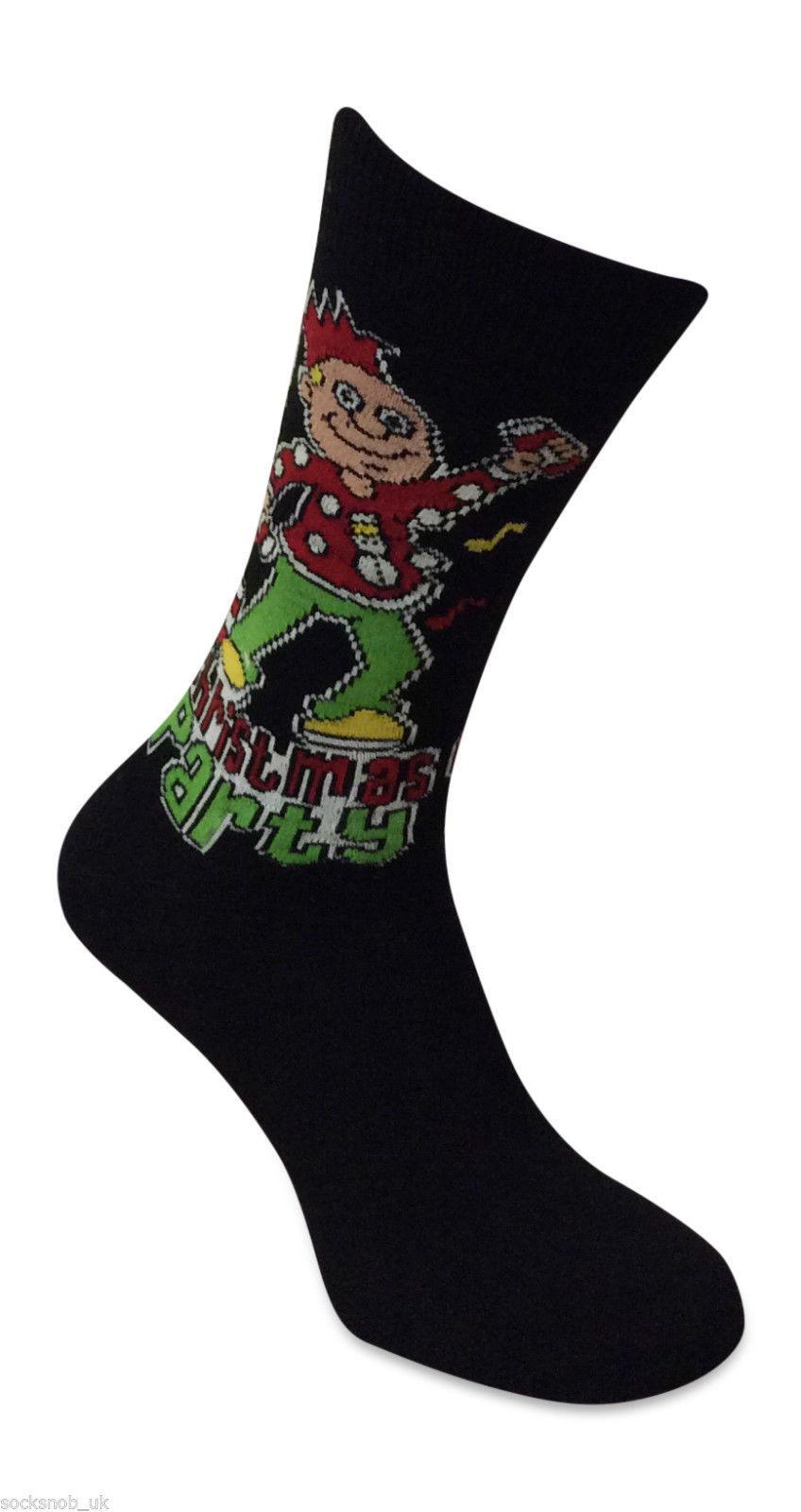 6, 12 Or 24 Pairs Of Men's Black Novelty Christmas Socks 6-11 UK 39-11 EUR