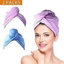 2 Pack Hair Towel Wrap Turban Microfiber Drying Bath Shower Head Towel with Butt image 12